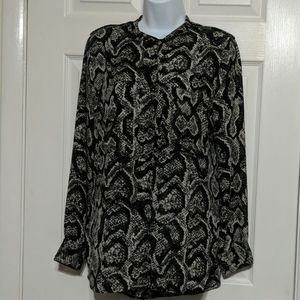 Larry Levin Button Down Snake Print Blouse Size M